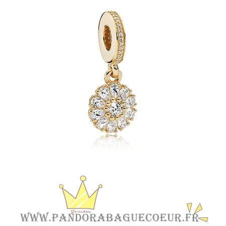 Femme Style Pandora Pandora Collections Agrementee Floral Dangle Charm 14K Or Clear Cz