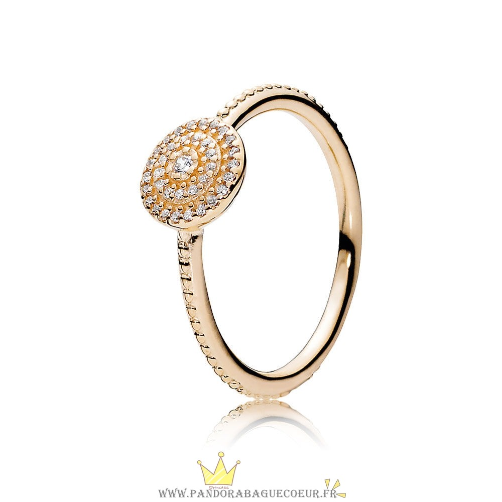 Femme Style Pandora Pandora Collections Bague Elegance Rayonnante 14K Or Clear Cz
