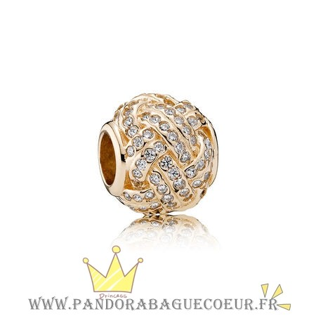 Femme Style Pandora Pandora Collections Breloque Sparkling Amour Knot 14K Or Clear Cz