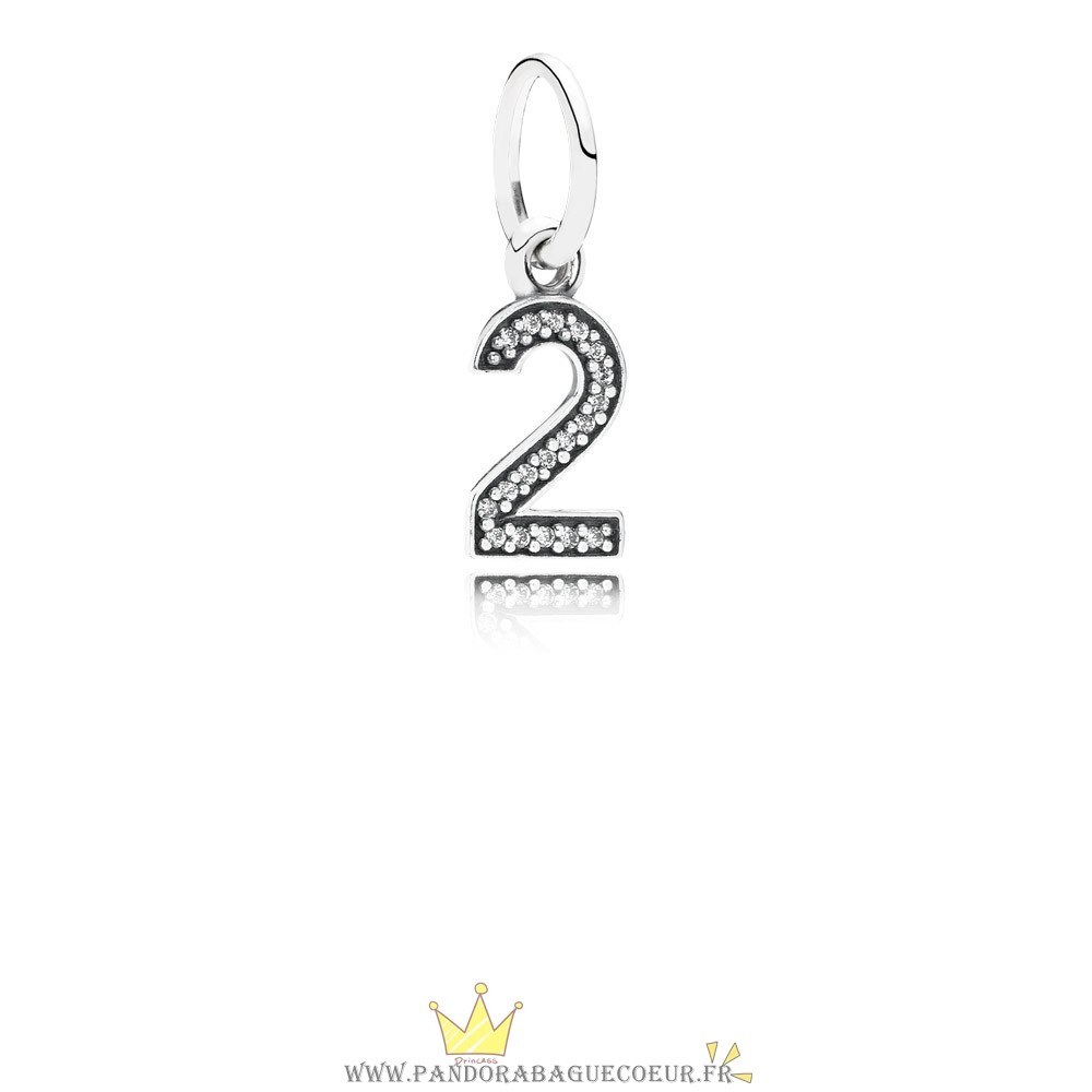 Femme Style Pandora Pandora Alphabet Symbols Charms Numero 2 Dangle Charm Clear Cz