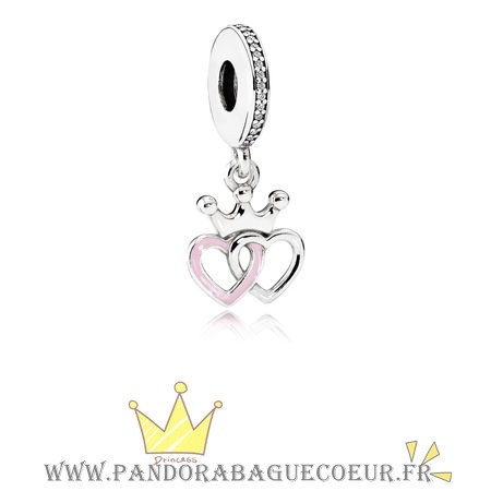 Femme Style Pandora Pandora Fairy Tale Charms Crowned Coeurs Dangle Charm Orchid Rose Enamel Clear Cz