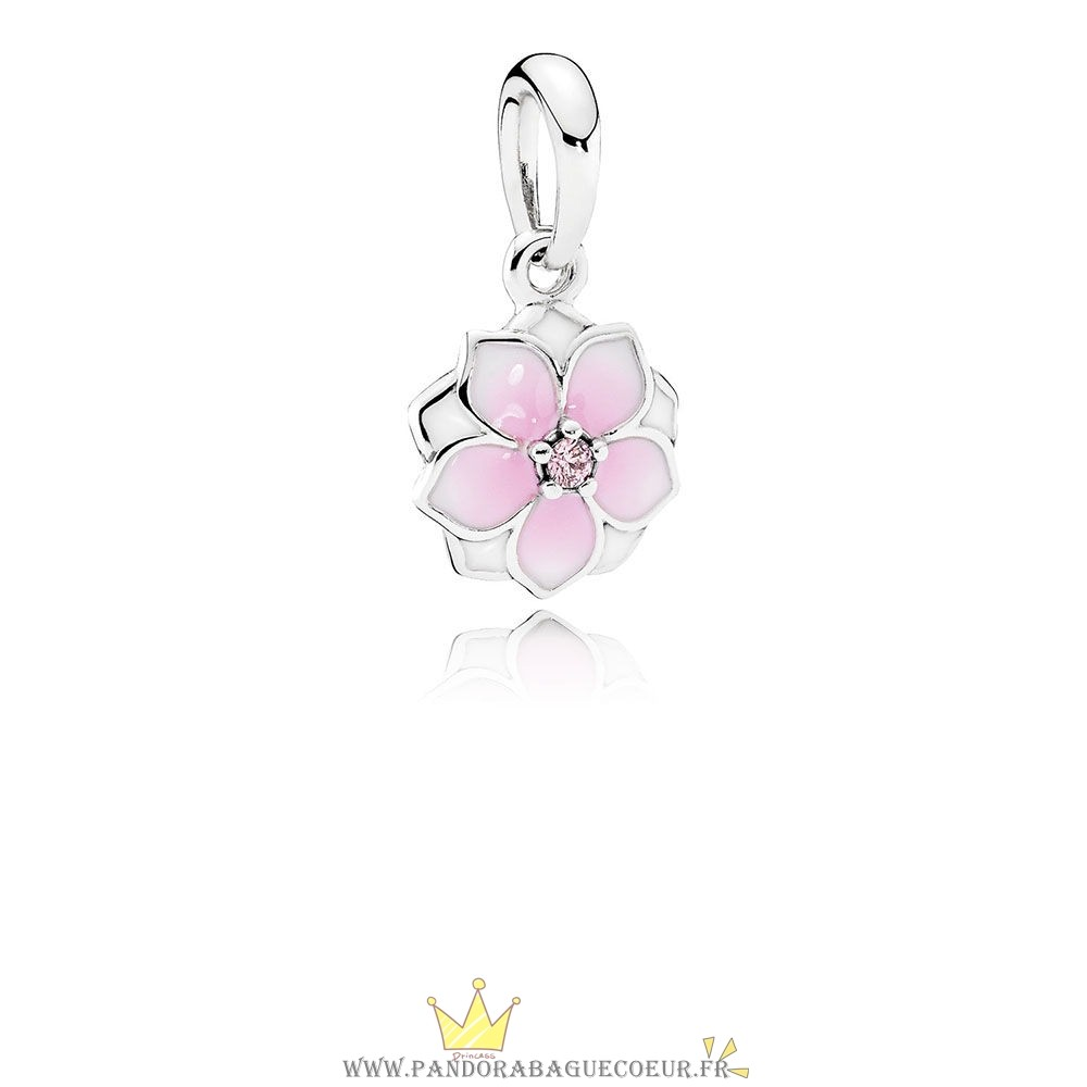 Femme Style Pandora Pandora Nature Charms Magnolia Bloom Charm Pale Cerise Email Rose