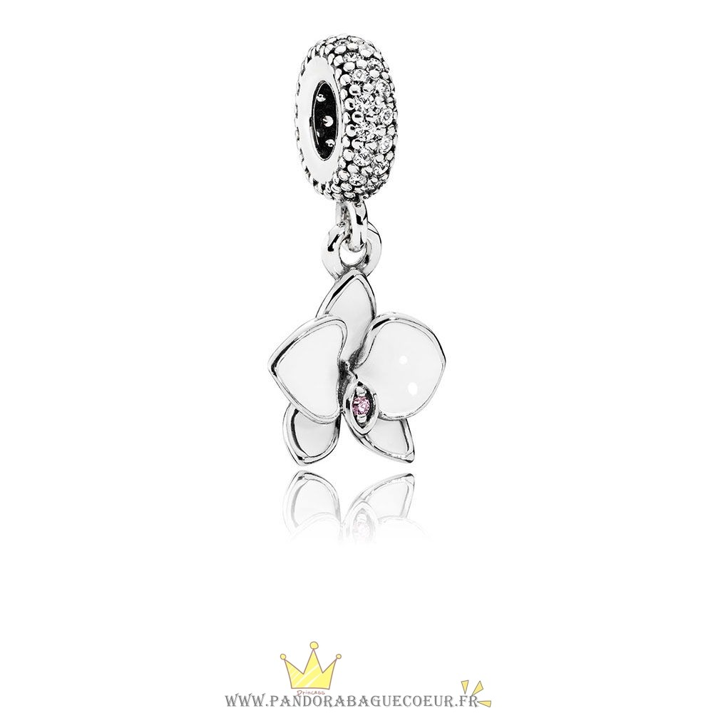 Femme Style Pandora Pandora Nature Charms Orchidee Dangle Charm Blanc Email Clear Orchidee Cz