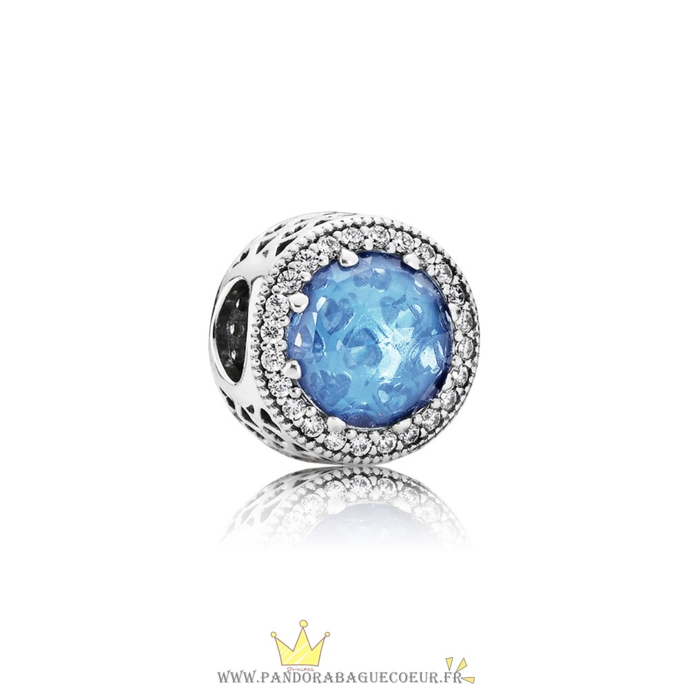 Femme Style Pandora Collection Coeurs De Radiant Sky Blue Crystal Clear Cz