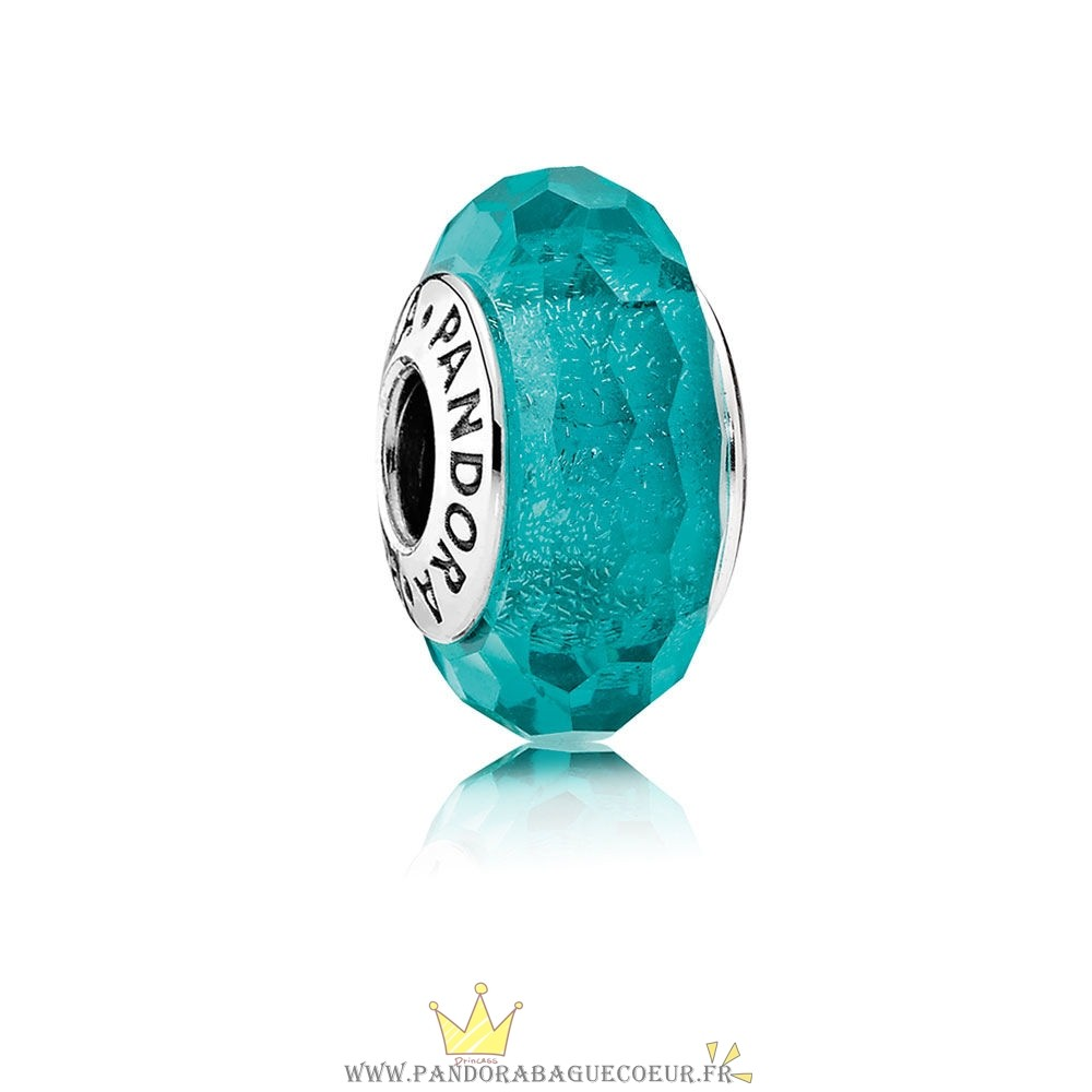 Femme Style Pandora Pandora Charms De Couleur Teal Shimmer Charm Murano Glass